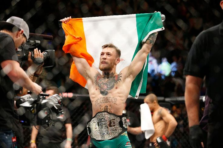 Conor McGregor reacts after defeating UFC featherweight champion Jose Aldo in Las Vegas.
