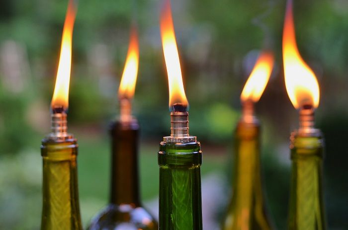How to make a Wine Bottle Tiki Torch - Redeem Your Ground | RYGblog.com