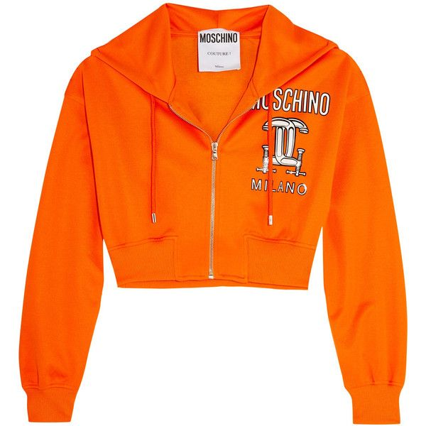 Moschino - Cropped Printed Jersey Hooded Top (2740 MAD) ❤ liked on Polyvore featuring tops, hoodies, orange, hooded crop top, zipper crop top, cropped hoodies, hooded top and cut-out crop tops