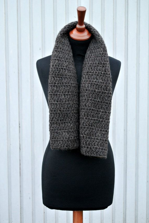 This listing is for a handmade grey/brown wool blend crochet scarf.  Its made out of 40% Baby Alpaca, 30% Kid Mohair, 8% Lana Merino Extrafine,