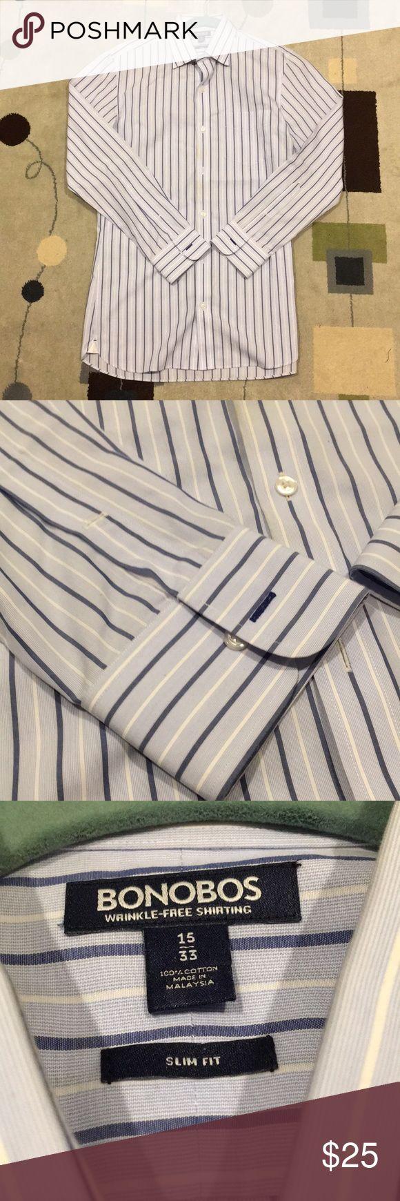Bonobos Striped dress shirt. Slim fit. Iron-free Bonobos makes the best dress shirts ever for slim guys like me. Not to mention it's wrinkle-free 100% cotton! Sizing: Neck: 15 Sleeve: 33 Bonobos Shirts Dress Shirts