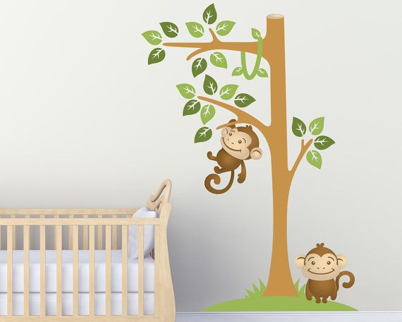 Wall Decals Nursery  Monkey Wall Decal  Tree by LullaberryDecals