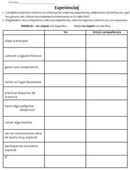 "2 actividades con el presente perfecto: Signature ""bingo"" activity using the Spanish present perfect tense along with an ""Experiencias"" speaking and writing activity practicing present perfect. Get students speaking in Spanish & moving around the classroom! These activities work great for structured input followed by output production."