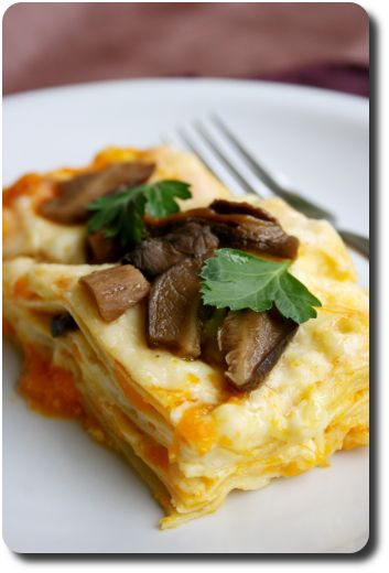 Lasagne délicate au potiron, cèpes et mozzarella