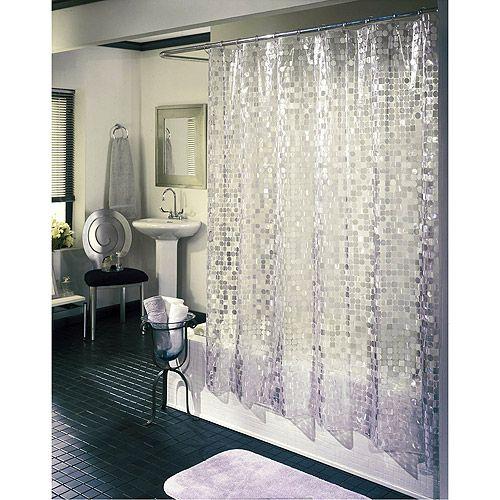 Ex Cell Home Fashions Disco Vinyl Shower Curtain Silver