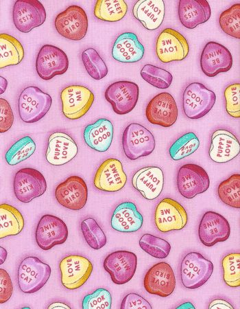 fabric - Candy Conversation Heart Fabric Valentine's Day ...