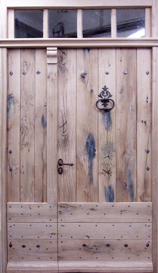 Porte en Vieux Chêne tiercée Fabriqué en plnaches centenaires récupérées. Portes d'entree . Portes Antiques - fabricant restauration et création