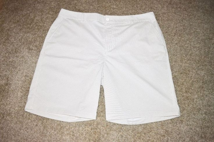 Under Armour UA Performance White Taupe Striped Golf Shorts Size 42R #UnderArmour #Shorts