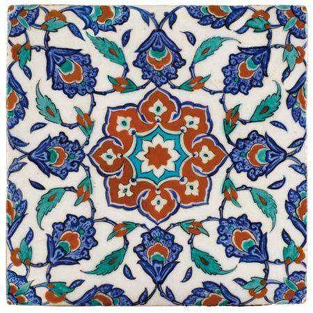 Carreau en céramique d'Iznik, Turquie, art ottoman, vers 1575