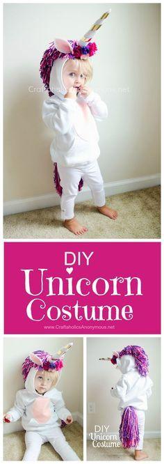 Unicorn Costume DIY Tutorial :: Such a cute handmade Halloween costumes idea for kids!