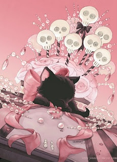 Mystery inspired piece with a cute kitten, roses, and skull cake pops. By Jennifer L.
