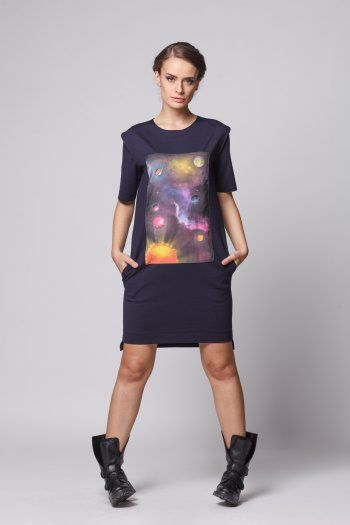 Happy Friday - Universe within dress - NAVY
