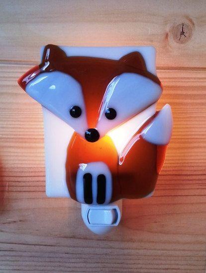 Nightlight, fox, fused glass, forest friend, baby room decoration, nursery, shower gift, kid room, children