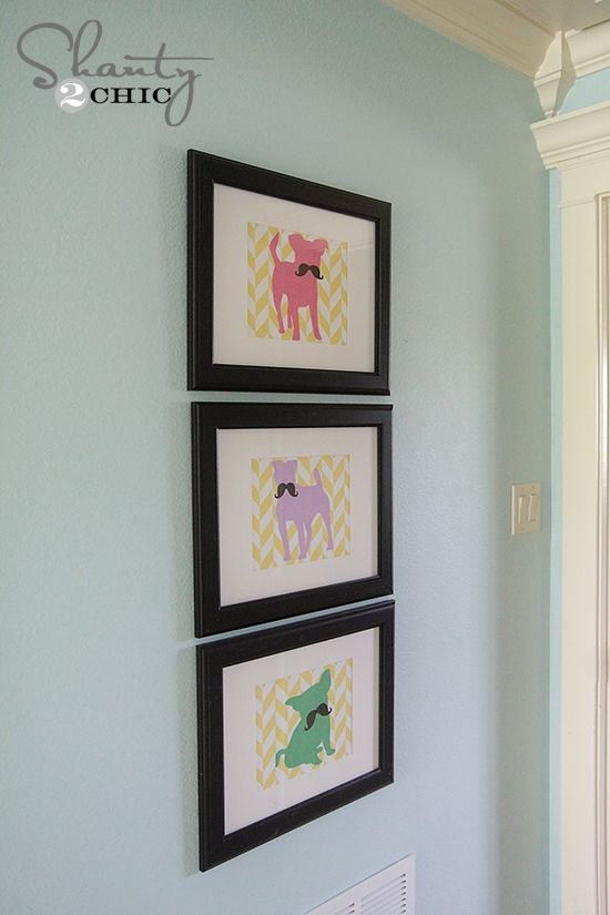 Free Printable Mustache Dog Art!!- PINK, PURPLE, GREEN- Great for a girls room