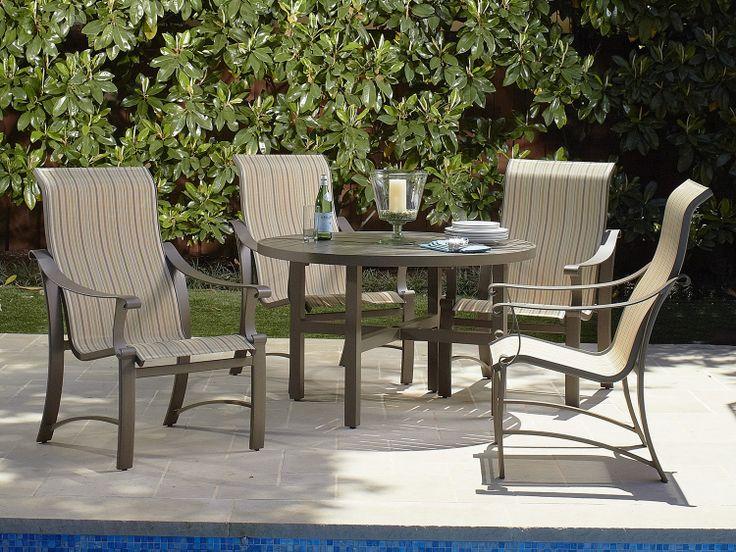 woodard bungalow sling collection powder coated aluminum patio dining set