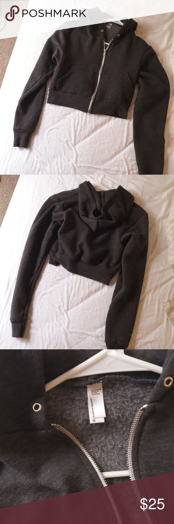 American Apparel cropped flex fleece zip hoodie Worn once, in excellent condition.(string is missing). Size: XS. American Apparel Jackets & Coats
