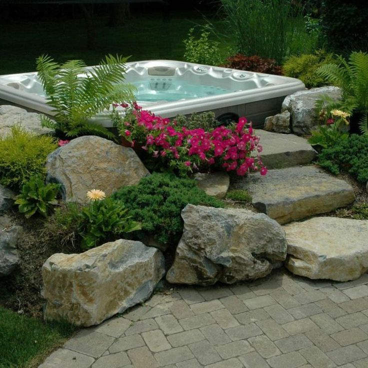 17 best images about backyard ideas on pinterest fire for Garden design ideas hot tubs