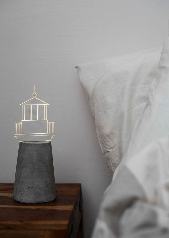 Nautical lamp Lighthouse lamp grey concrete lamp by STURLESI