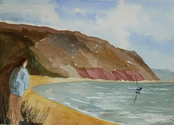 Watching the sailing Slapton sands South by JulianLovegroveArt, £50.00