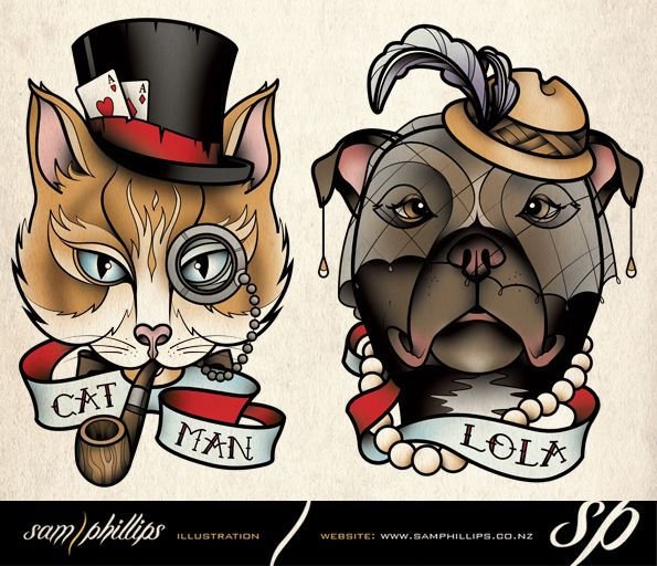 Cat and dog pet tattoo by ~Sam-Phillips-