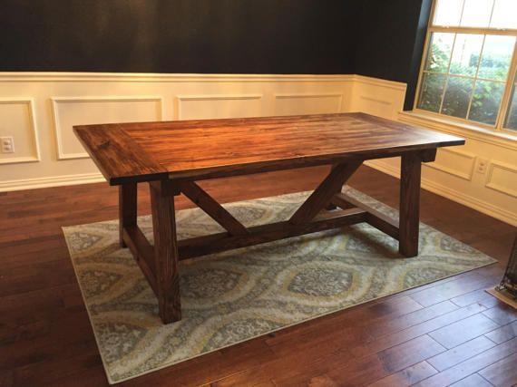 Farmhouse Dining Table W/ Truss Beam Legs | Dining Room Table | Dark Wood Table | Custom Farmhouse Tables | Built to Order | Kitchen Table