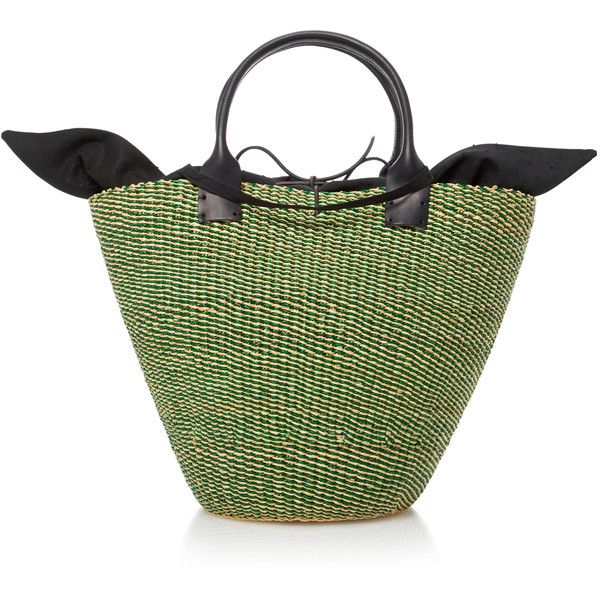 Muun Kyoto Straw Tote (747.255 COP) ❤ liked on Polyvore featuring bags, handbags, tote bags, green, green tote purse, green tote, straw purse, handbags tote bags and tote hand bags