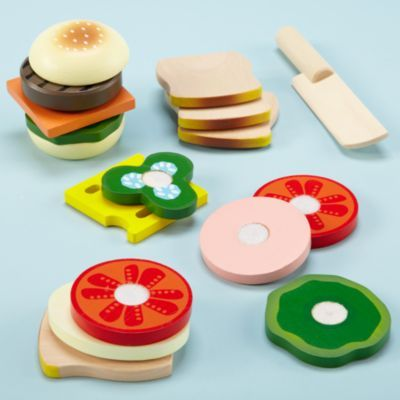 love wooden toys: Toddlers Fun, Gifts Ideas, Wooden Toys, Plays Sets, Fake Food, Kids Kitchens, Plays Food, Land Of Nod, Sandwiches Kits