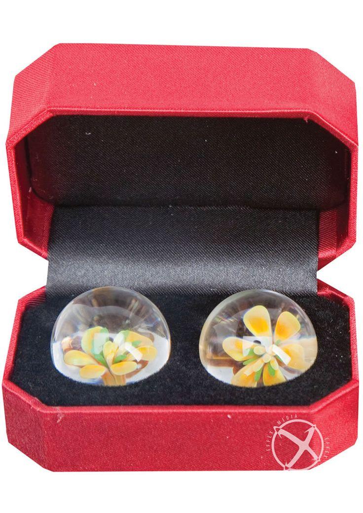 Adam And Eve Cyberglass Ben Wa Balls Yellow Blossom Waterproof
