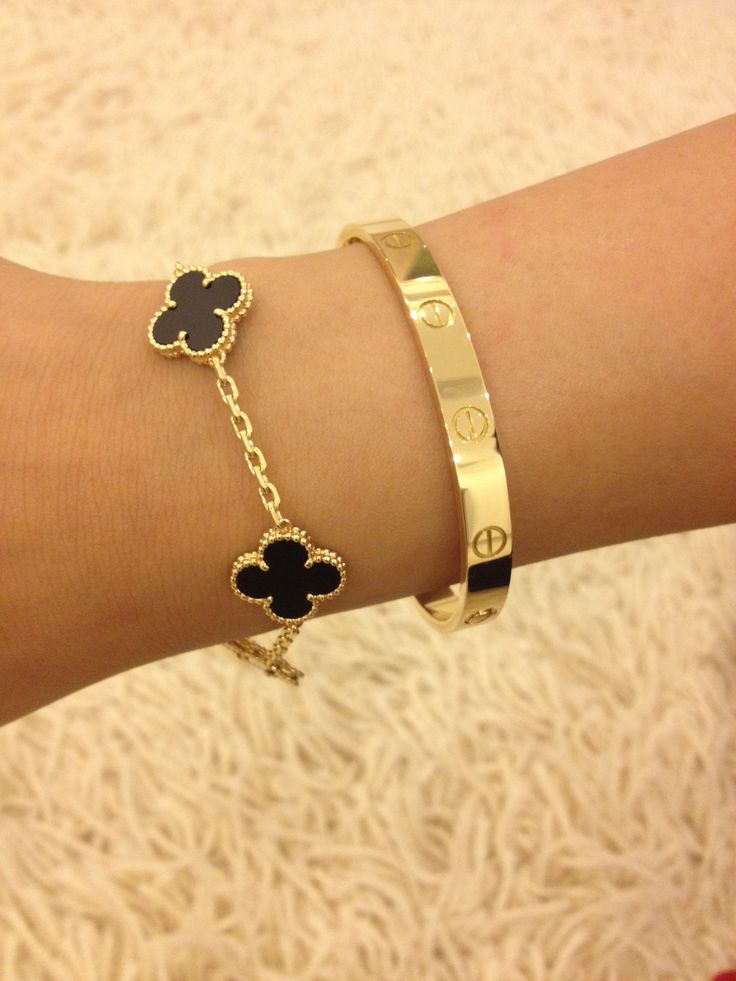 lovejewelry:  Van Cleef & Arpels Alhambra Bracelet and Cartier Love Bracelet