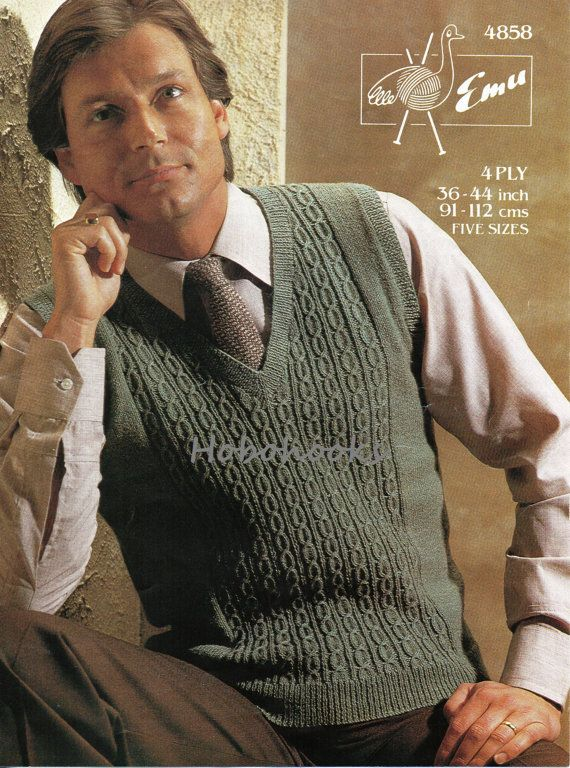 Mens slipover / pullover, pattern panel and v neck - 36 to 44 inch chest - 4 Ply - Knitting Pattern - PDF instant download