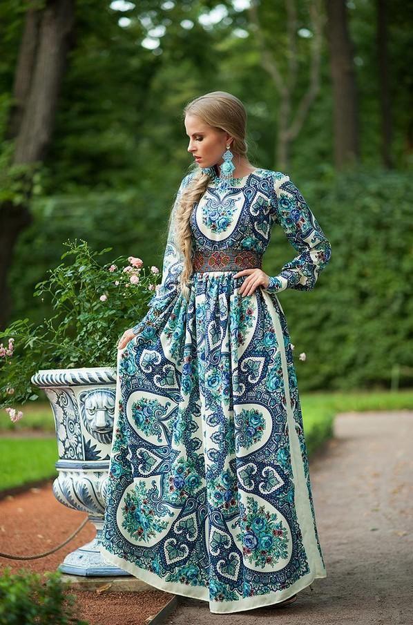 Вечернее штапельное платье в русском стиле