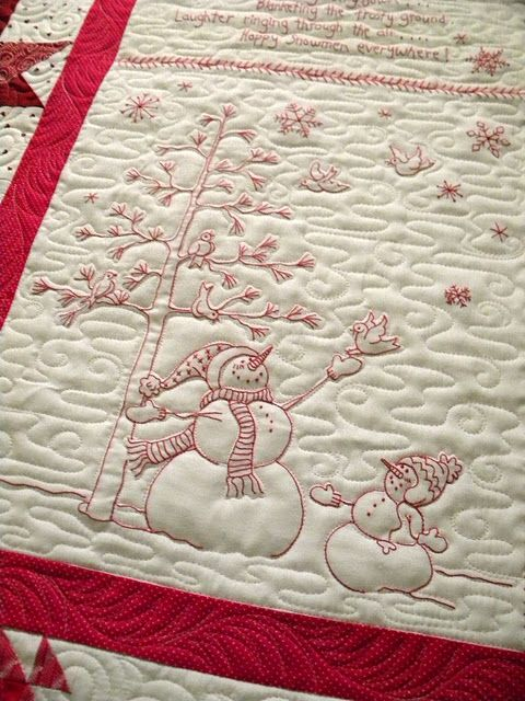 Beautiful machine quilting on this hand stitched Winter Wonderland Quilt from Crabapple Hill Studio
