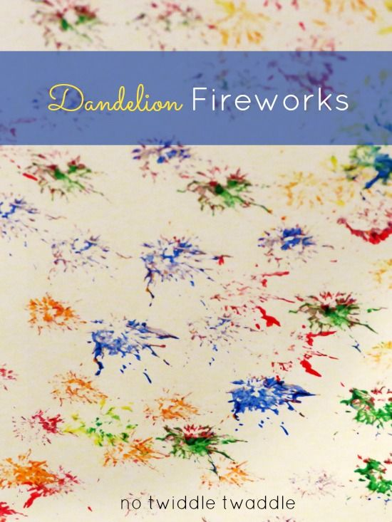 "Dandelion Fireworks - Kids paint fireworks with ""dandelion stamps."" #kidscraft #kidsactivities #4thofjuly"
