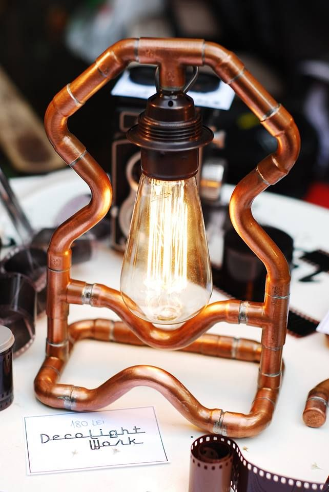 Copper pipes industrial lamp with Edison bulb  https://www.facebook.com/decolightwork