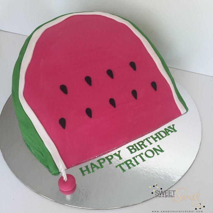 Watermelom fun for a summer party Cake www.sweetsecretsdubai.com