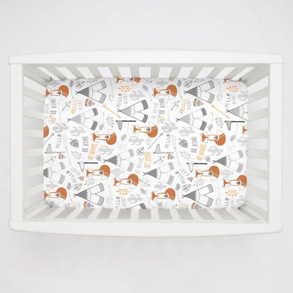 Boy Baby Bedding / Girl Baby Bedding / Neutral Baby Bedding : Brave Fox Mini Crib Sheet by Carousel Designs