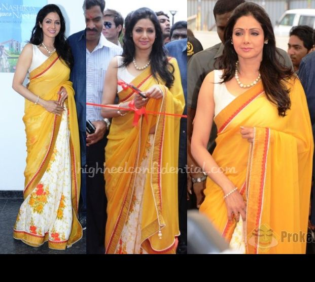 Wearing what seemed like a Manish Malhotra sari, Sridevi helped inaugurate a new real estate project in Nashik over the weekend.
