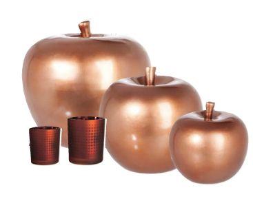 """Walter Van Gastel - J-line """"Bronze Chic"""" , decoratieve keramieke appels"""