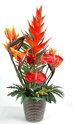 grande composition exotique 100cm oiseau paradis arome fleurs artificielles arrangement de. Black Bedroom Furniture Sets. Home Design Ideas