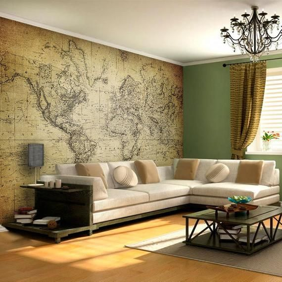 World Map Vintage Wall Mural World Map Wall Art Adhesive