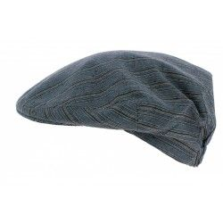 CASQUETTE PLATE LIN RAYURES BLEUES - OLNEY