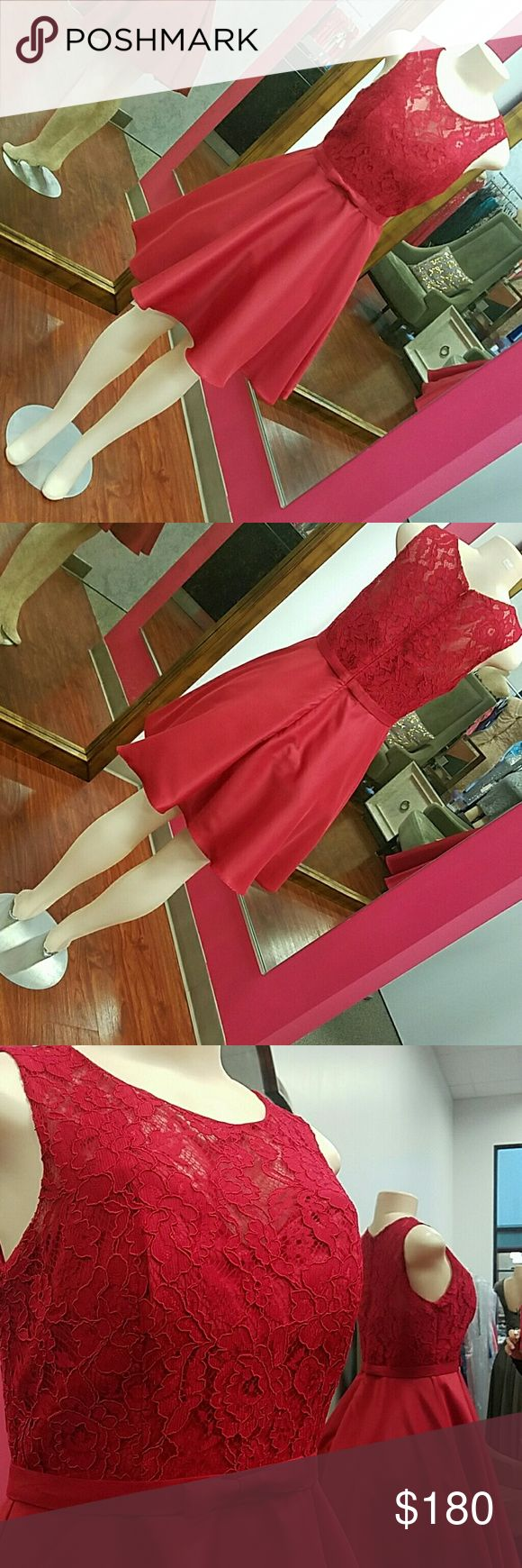 Red short dress homecoming formal Short dress has lace bust and has a waist belt with a cute bow.    Brand: Cindy  Also available in white, blush, red, champagne, royal blue and silver.  This dress is brand new from my boutique.  This dress is so cute and so elegant perfect for wedding guest, formal events, quinceanera, bridesmaids. Tags(for visibility): prom pageants military ball formal events homecoming wedding gala quinceañera graduations sherri hill scala windsor dave Johnny davids…