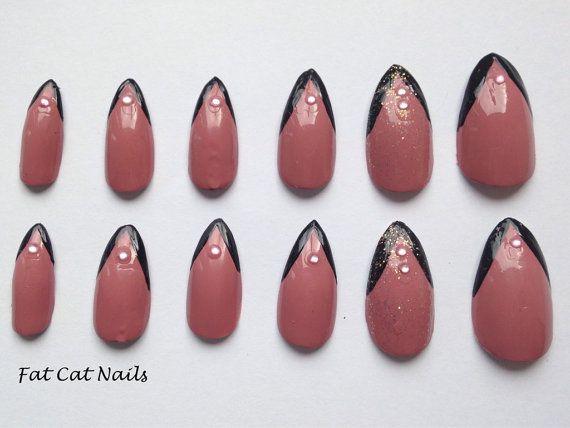 Dusky Pink Stiletto Nails. Pink Rhinestone Almond by FatCatNails