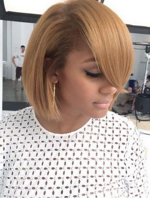 2017 Short Bob Hairstyles For Black Women Long Side Bangs