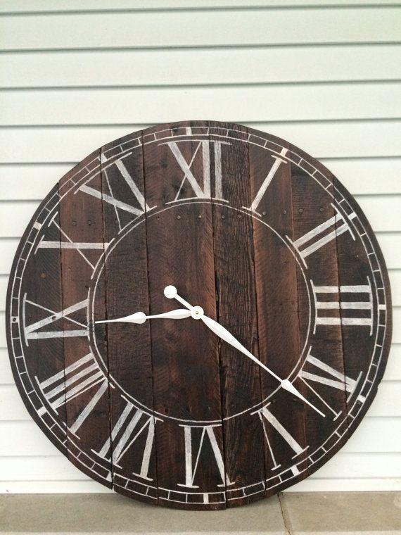 Items similar to Farmhouse Style Wooden Pallet Clock--20 ...