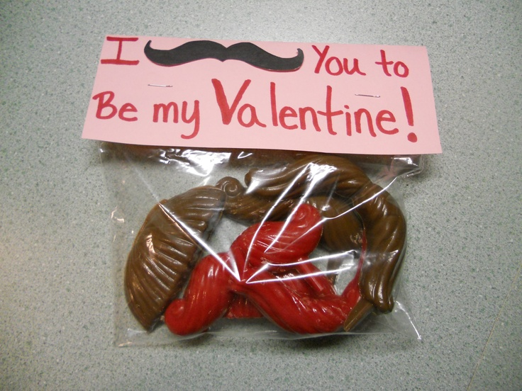 I made this for Brady for Valentine's Day. Bought chocolate mustache molds from Micheal's, filled with colored chocolate, let them cool in the fridge, Made the label out of construction paper and stapled it to a Ziploc (sandwich) bag!