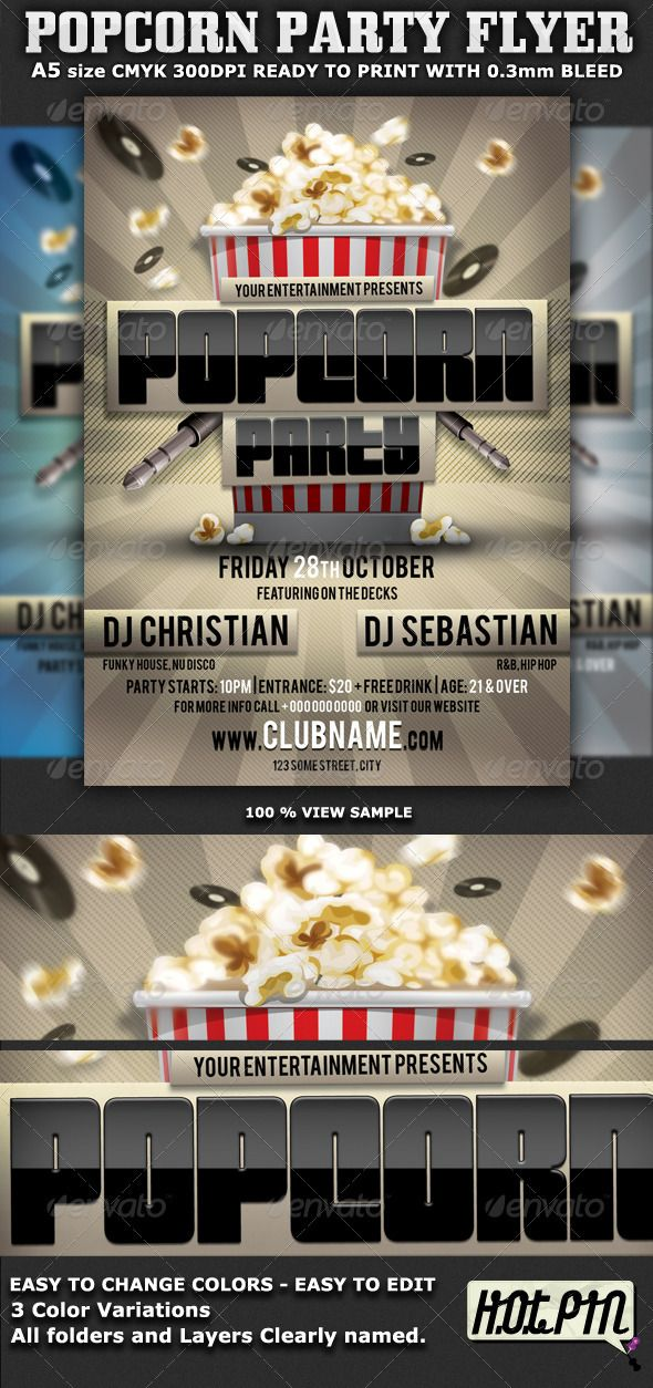 popcorn party flyer template is very modern flyer that will give the perfect promotion for your. Black Bedroom Furniture Sets. Home Design Ideas