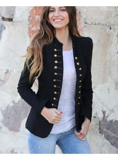 Chaqueta Militar Negra #estaesmimodacom #ropa#modelitos#combinar#moda#joven