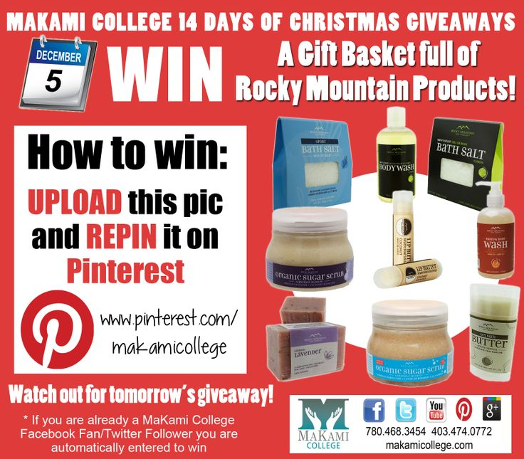 Win a gift basket full of Rocky Mountain Soap Company products as part of Makami College's 14 Days of Christmas Giveaways! HOW TO WIN: Upload this picture and re-pin it on Pinterest. A winner will be announced tonight.