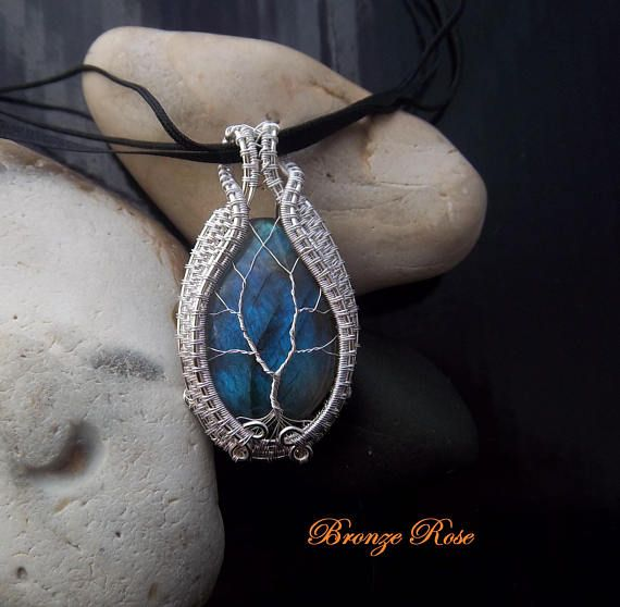 Handmade wire wrapped labradorite tree of life necklace
